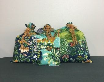 Fabric gift bags with forest animals tropical or fantasy print for baby shower, birthday or Hawaiian party, Zero Waste, reusable gift wrap