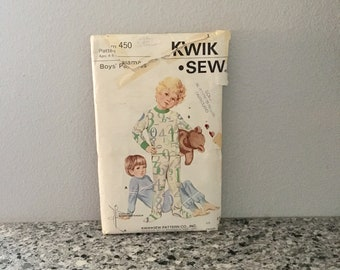 Boys pajamas pattern vintage Kwik Sew 460 ages 4-5 toddler footed or cuffed pajamas for knit fabric uncut tracable with pieces made 1960's