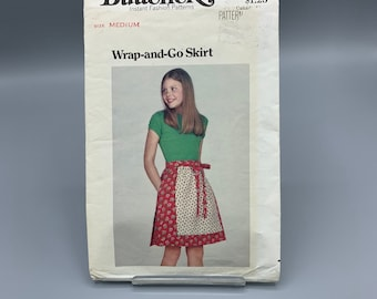 Vintage wrap skirt with apron pattern for girls, 1960's or 70's, Butterick 5626 size medium 8-10, cute wrap around skirt with pockets
