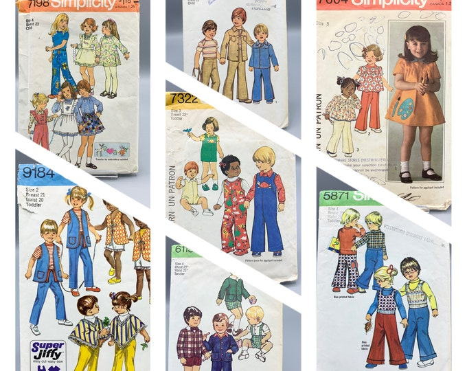 Featured listing image: Vintage toddler patterns by Simplicity from 1970's sizes 2T - 4T boys or girls make pants, dresses, jumpers poncho, vest, shorts and more