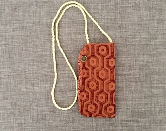 Hanging eyeglass case for reading glasses terra cotta color upholstery fabric, glasses necklace with satin cord, gift for grandma or teacher