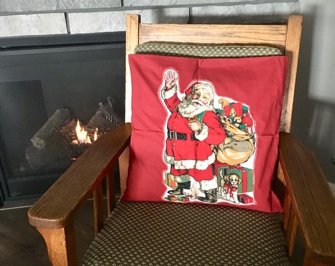 Featured listing image: Christmas decor throw pillow cover, 18 x 18 with retro Santa Claus appliqué, buttons with a vintage shell button, red cushion cover