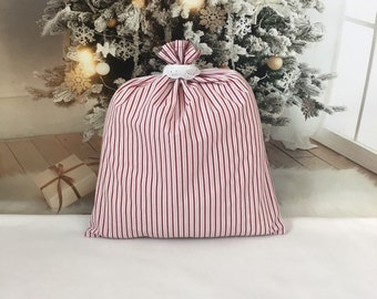 Large Christmas fabric gift bag farmhouse style red ticking stripe, 15 x 18 cloth bag with eyelet lace collar, reusable gift bags