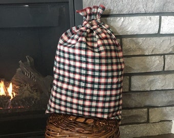 Rustic Plaid Gift Bag made from Corduroy, Farmhouse Style, Zero Waste, 14.5 x 21, Large Gift, Family Gift, Parent Gift, Christmas Gift Idea