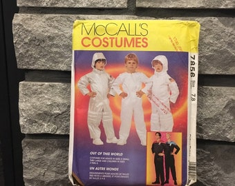 Children's astronaut or space suit costume pattern for Halloween or play McCalls 7856 from 1995, size 7, 8, uncut pattern