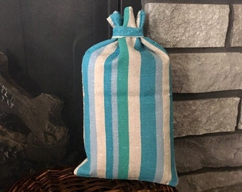 Striped vintage fabric gift bag, beautiful reusable gift wrap, sustainable zero waste gift idea, 7.5 x 13, cloth bag, no stress gift wrap