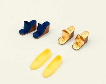 Vintage Barbie shoes from 1960's, 3 pairs, choose yellow flats, royal blue wedges or gold wedges, Barbie collector gift, accessories
