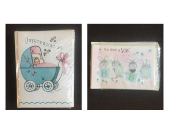 Vintage birth announcements/ephemera/ 1960's greeting cards for baby/ American Greetings/ baby buggy/ Rust Craft Cards/ 4 x 3