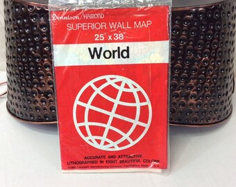World Map, Christmas Gift, Vintage World Map, 1970's Map, Dennison Hammond Map, 25 x 38, In Package, Lithographed Map, Superior Wall Map
