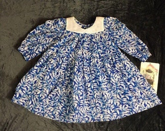 Baby girl Christmas dress, blue Hanukkah or winter dress, vintage 1980's never used, Mouse Feathers brand, Size 18 months, baby shower gift