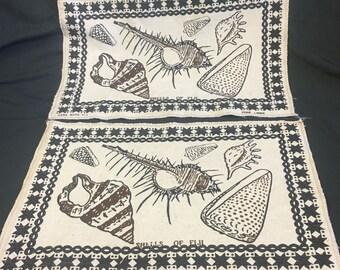 Fiji Linen Place Mats, Vintage Linen Place Mats, Handmade Linen, Shells of Fiji, Printed Place Mats, Pure Linen, 1990's, Set of 2, 11 x 17.5