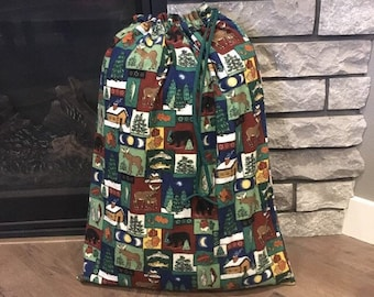 Extra large Christmas fabric gift bags, rustic moose cabin print flannel, big Santa sack, green cord drawstring, family gifts, 21.5 x 27