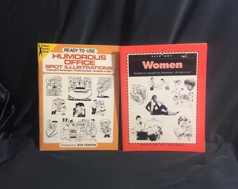 Ephemera Vintage clip art books copyright free/ black and white humorous office spot illustrations by Dover or women clips by North light