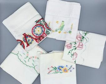 Vintage embroidered pillowcase singles/plain edges/choose design, vintage linens/standard sizes