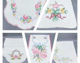 Vintage table runners, dresser scarf, linen or cotton with embroidery and crochet edges choose design