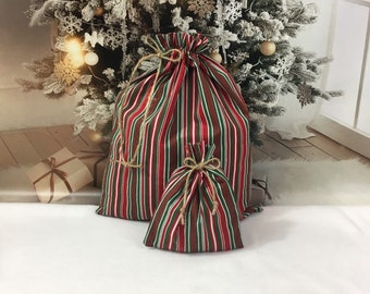 Christmas fabric gift bags for wrapping presents, family gifts, striped reusable gift wrap, sustainable, 2 sizes 6.5 x 8, 12.5 x 15