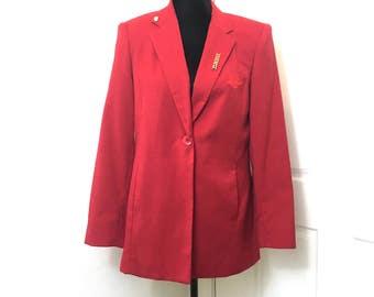 Mary Kay Jacket, Vintage Red Jacket, Brookhurst Jacket, 2 Mary Kay Pins, Size 4R, One Button Jacket, Monogram MK, Vintage Mary Kay Jacket