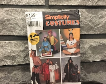 Costume pattern Simplicity 9169 size adult S-L makes pirate, genie, Pocahantas, witch, angel, devil or grim reaper party Halloween costumes