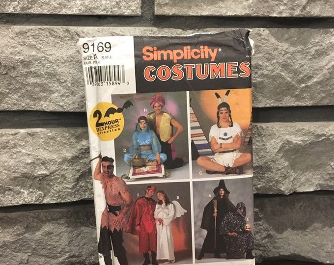 Featured listing image: Costume pattern Simplicity 9169 size adult S-L makes pirate, genie, Pocahantas, witch, angel, devil or grim reaper party Halloween costumes