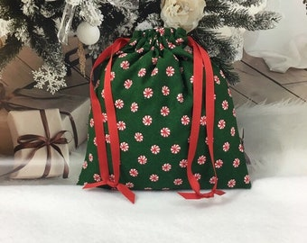 Green Christmas fabric gift bag with cute peppermint candy print, 8.25 x 9 with red double drawstring, reusable gift bags, eco-friendly