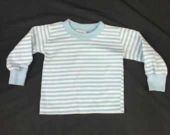 Buster Brown brand vintage blue and white striped long sleeve baby boy knit shirt with rib knit cuffs and collar, 1980's Size 3 - 6 Months