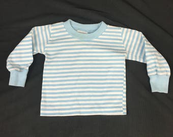 Vintage long sleeve baby boy knit shirt in blue and white stripes with rib knit cuffs and collar, Buster Brown, 1980's Size 3 - 6 Months