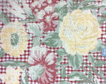 Vintage floral brocade tablecloth, French country or cottage style, 45 x 52 inches, thick cotton rayon blend with fringe for table or throw