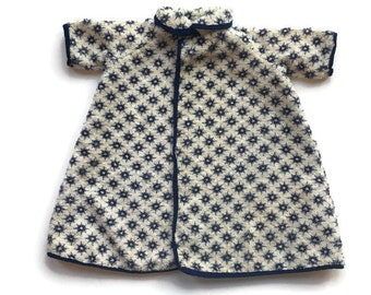 Vintage Terri Lee doll or similar 16 inch dolls terry cloth robe or coat with blue star print handmade 13 inches long, vintage doll clothes