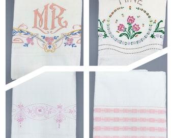 Vintage pillowcase singles, some embroidered, plain edges, choose design, vintage linens, most standard sizes