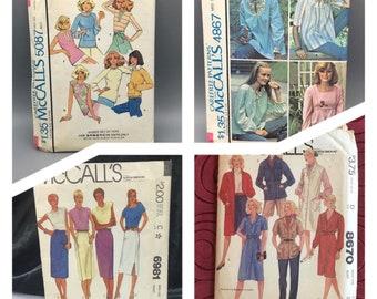 Vintage McCalls patterns, 5087, 4867, 6981, 8670, coat dress, jumper, shirts, knit tops, skirt, maternity tops, jacket, Sizes 8 - 18