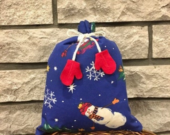 Snowman print fabric gift bag for Christmas presents 9.5 x 11 with cute mittens on a string tie, stress free reusable gift wrap, zero waste