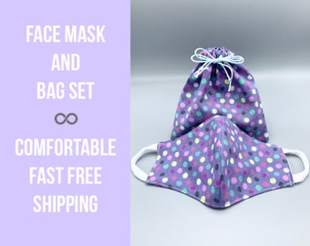 Face mask and/or matching carry bag, polka dot, 3 layer with filter pocket, soft ear loops, washable, reusable, 3 colors, 7 sizes