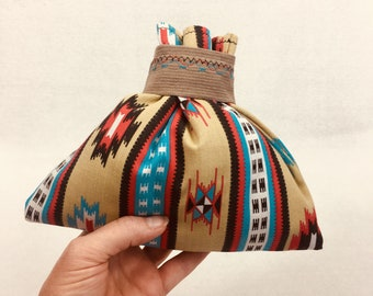 Native American design fabric gift bag for mother or father's day, or birthdays, for small gift or jewelry, 8.5 x 7, reusable, zero waste