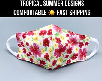 Summer cotton face mask, 3 layers w/ filter pocket, 3 prints, tropical flowers, soft ear loops, washable, 7 sizes, Kids & Petite, Mask Bag
