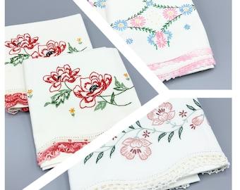 Vintage pillowcase sets, hand embroidered flowers & crochet lace edges, choose set, standard