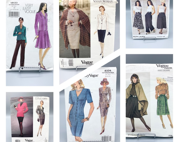 Featured listing image: Vogue Patterns V8133, 2790, 1723, 1243, 8324, 1223, sewing patterns make women's jacket, skirts, blouses, dresses, capes & pants, sizes 8-22