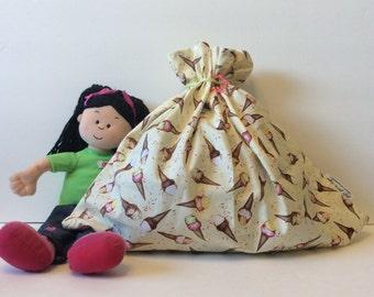 Little Girl Birthday Gift, Baby Shower Gift Bag, Fabric Gift Bag, Large Gift Bag, Cloth Gift Bag, Ice Cream Cones, Baby Gift Bag, 20.5x16.5