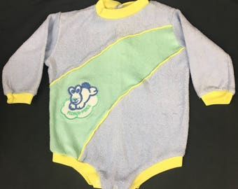 Vintage 1980's baby body suit, Fisher price brand in blue and green terry cloth with long sleeves, snaps and a bunny patch, Size Large 19-24