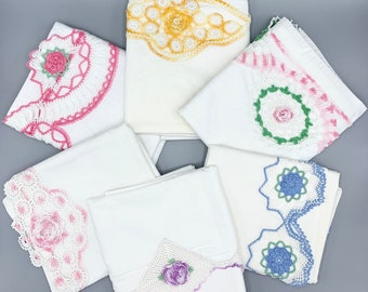 Handmade crochet flowers and lace edges, vintage pillowcase singles, standard sizes, treat and use, cut and craft