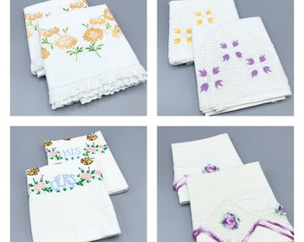 Hand crochet embroidered flowers and lace edges vintage pillowcase sets, choose design, most are standard sizes