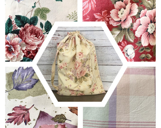 Featured listing image: Large laundry tote wedding bridal shower reusable fabric gift bag, drawstring & strap, upholstery fabric 5 prints, 22 x 32, sustainable gift
