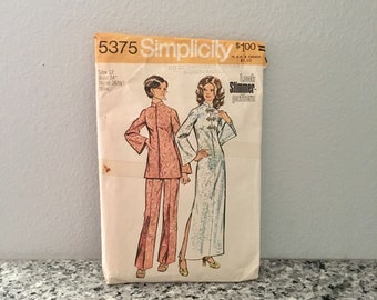 Tunic or dress and pants pattern misses size 12 bust 34 vintage Simplicity 5375 from 1972 ankle length dress front zipper stand up collar