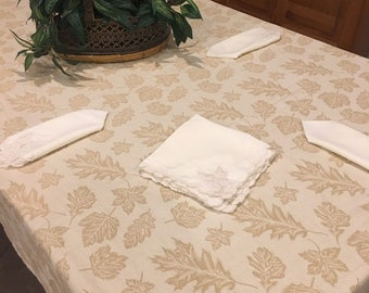 Leaf patterned cotton damask vintage long rectangle tablecloth for Thanksgiving neutral decor, 58 x 98
