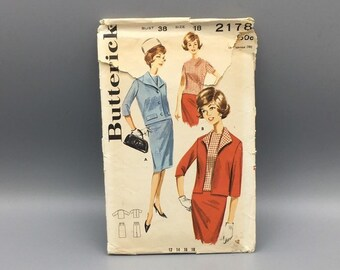 Vintage misses suit pattern, skirt top and jacket, vintage 1960's Butterick 2178 Size 18 bust 38, Mod style clothing
