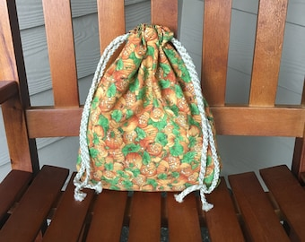 Fabric Halloween Drawstring Candy Bag with Jack O' Lanterns print, 10.5 x 12.5, Free Shipping In USA