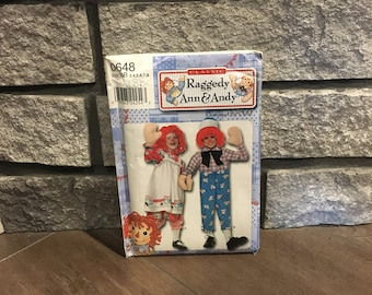Raggedy Ann & Andy kids costume pattern for birthday party or Halloween, Simplicity 0648, UNCUT, Size BB 3 - 8, Year 2000, Sewing