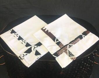 Handmade Handkerchiefs, Father's Day Gift, Made in Fiji, Vintage Men's Handkerchiefs, Tiki Fji Design, Fiji Fabric Border, 14 x 14, Fijiian