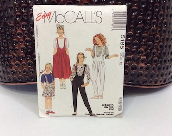 Girl's vintage jumper pattern, Easy McCall's 5185 1991 Size 12 girls makes child's knit shorts and romper