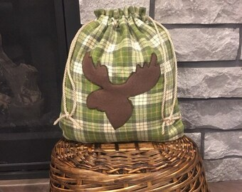 Plaid flannel moose appliqué fabric gift bag with cord double drawstring 11 x 13, for outdoorsy man or boyfriend gift, cotton reusable bag