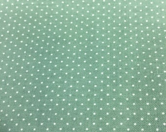 Green Pin Dot Fabric, Vintage Fabric, Quilting Fabric, Dotted Fabric, 1 Yards 30 In, 44 Wide, Fabric Remnants, Green Fabric, Cotton Fabric